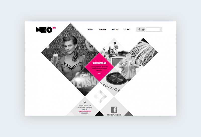 A website homepage with black and white photos inserted into a collage of angled squares.