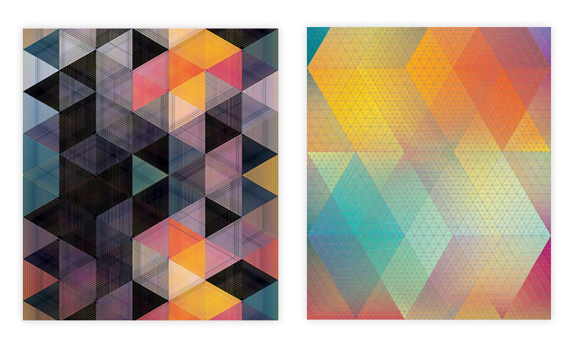 Two illustrations created through shapes and gradient colors.