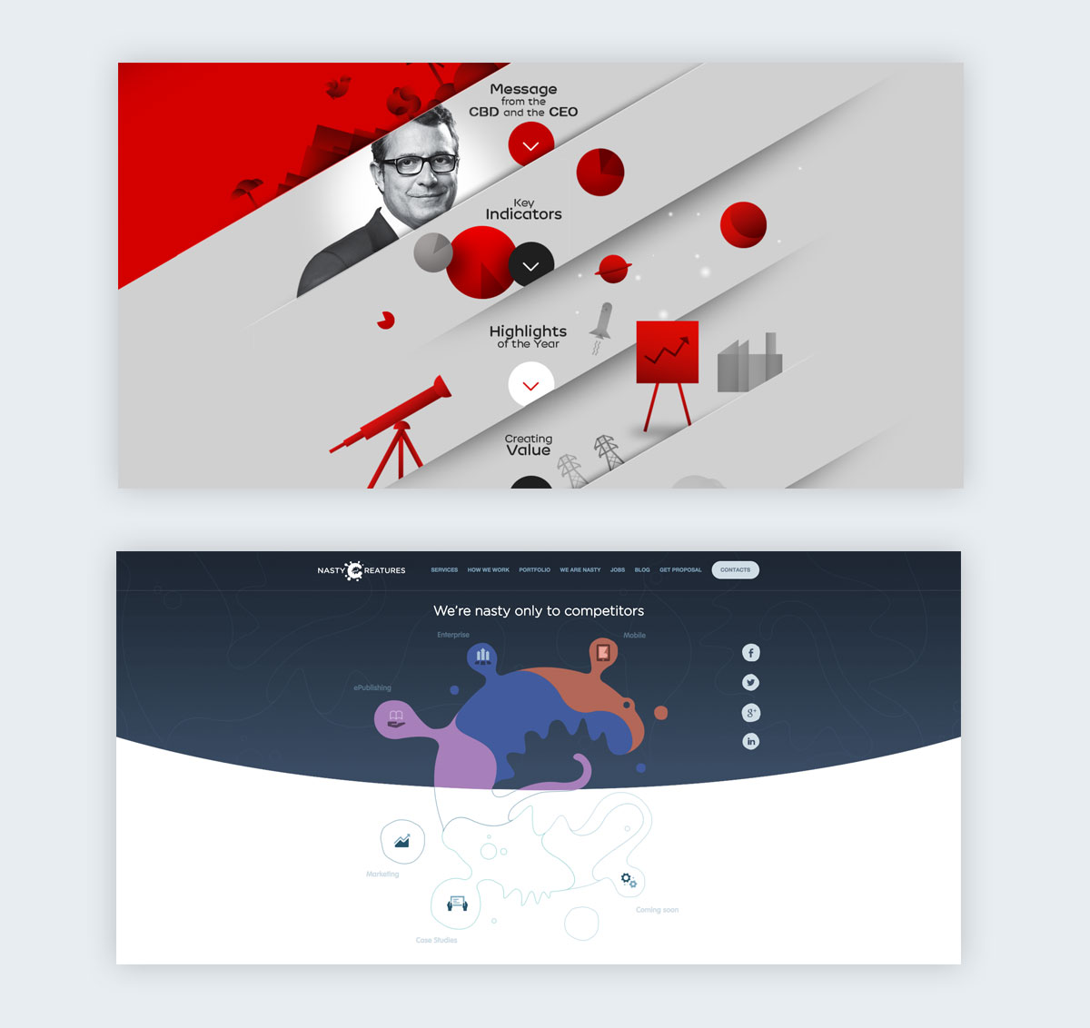 Two web pages using geometric shapes to segment information.