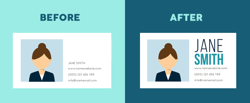 Two examples of a business card with text, one with noticeably more understandable text sizing.