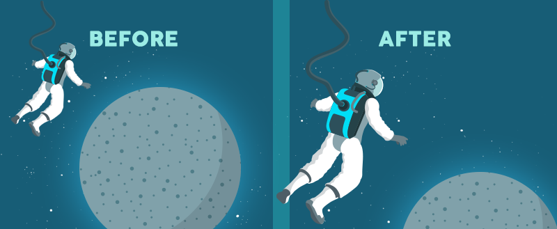 Two examples of an astronaut in space, looking at the moon, with varying spacing between the subjects.