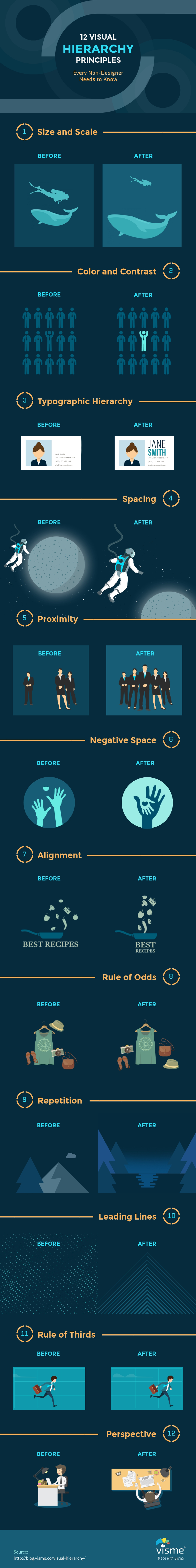 An infographic showcasing 12 visual hierarchy principles.