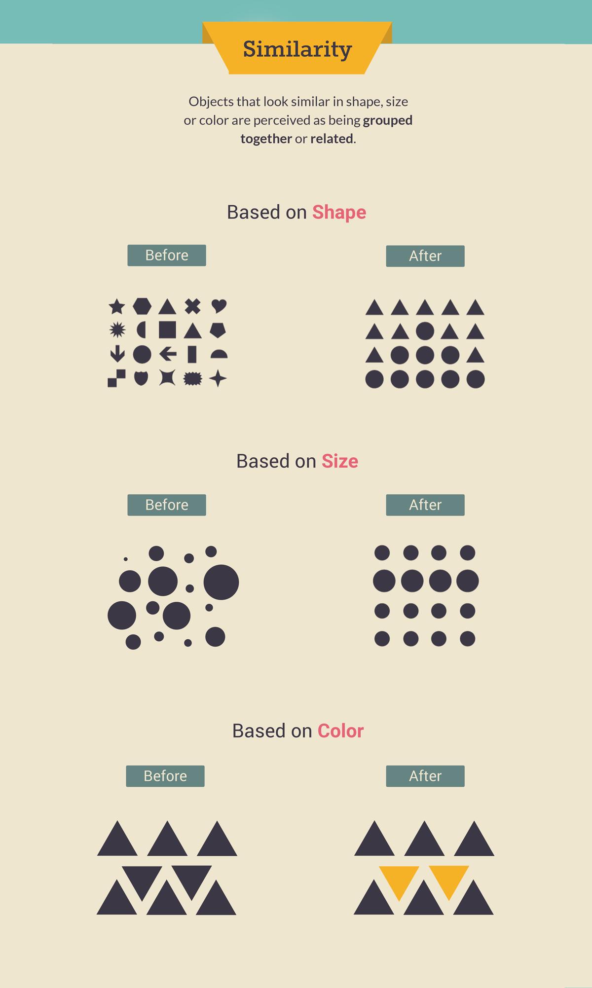 gestalt law of similarity shape color size gestalt design principles