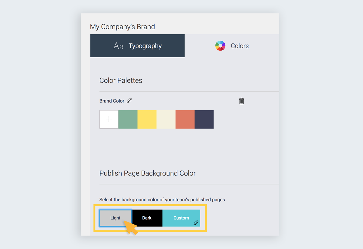 default background color How to Set Up Your Brand Kit in Visme branding kit for presentations infographics reports