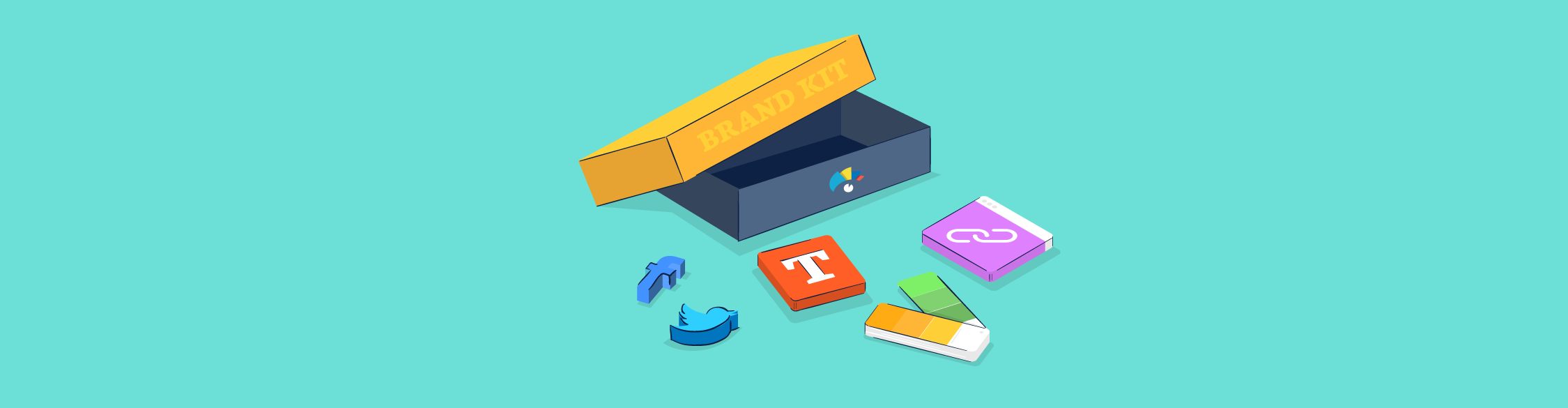 An illustration of an open box and brand elements scattered around it.