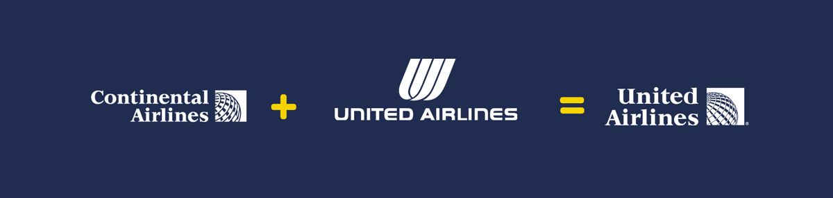 continental airlines + united airlines = united airlines logo rebranding strategy