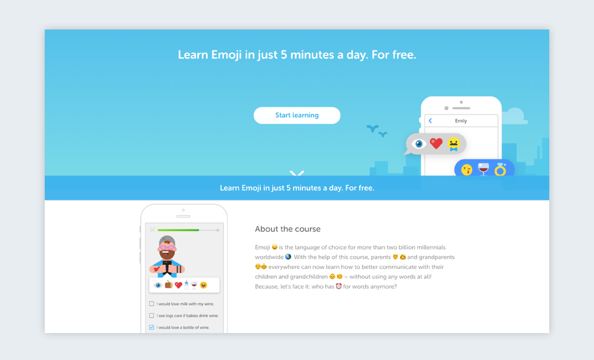 duolingo learn emoji courses
