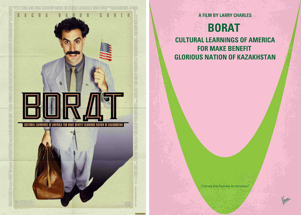 borat minimalist movie posters
