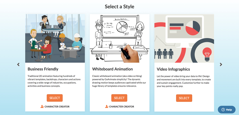 Goanimate presentation software presentation tool visual themes styles