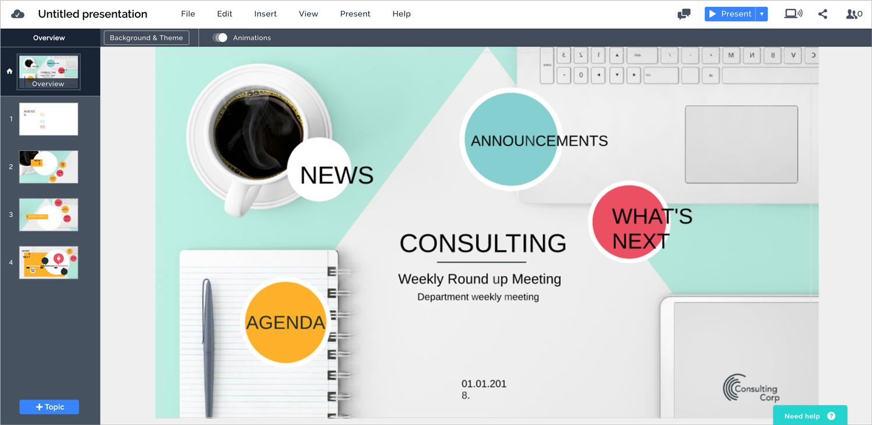 prezi next presentation software presentation tool interface