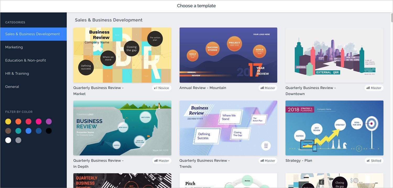 prezi next presentation software presentation tool template options