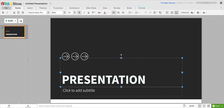zoho show presentation software presentation tool interface