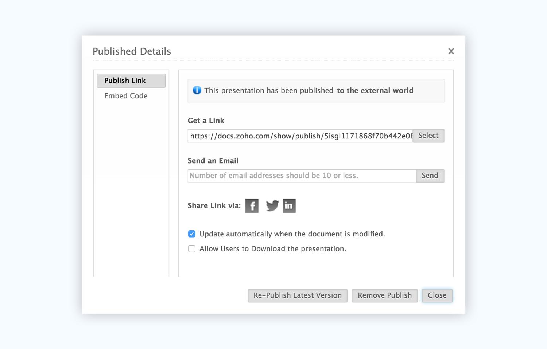 zoho show presentation software presentation tool share link
