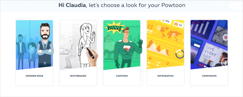 powtoon show presentation software presentation tool visual styles themes