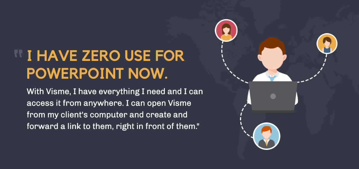 i have zero use for powerpoint now. with visme, i have everything i need and i can access it from anywhere. i can open visme from my client's computer and create and forward a link to them, right in front of them.