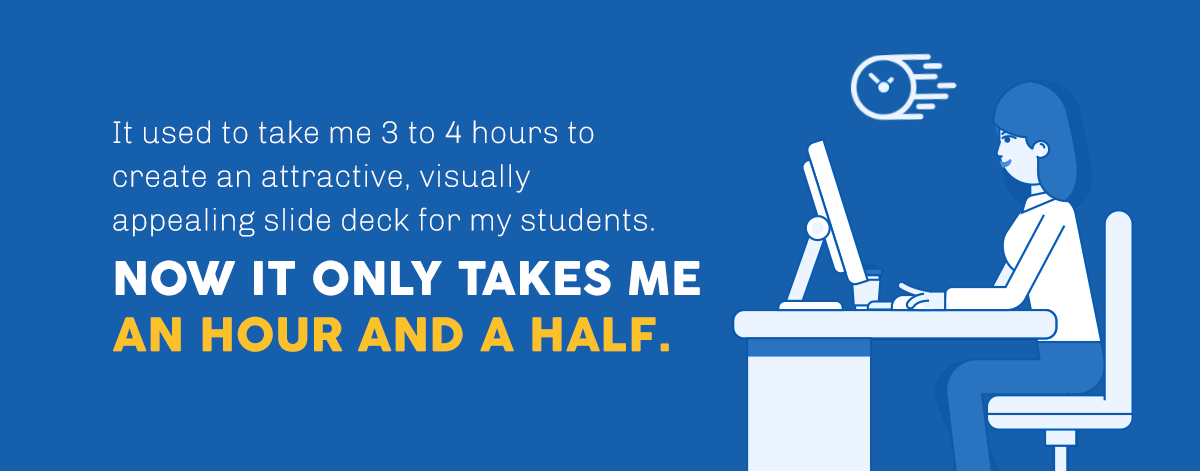 it used to take me three to four hours to create something really visually attractive and appealing in PowerPoint. Now, it only takes me an hour and a half in Visme.