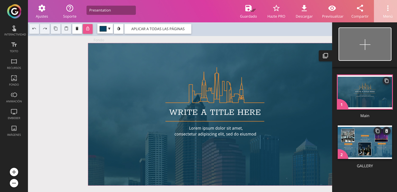 genial.ly interfaz programas para hacer presentaciones