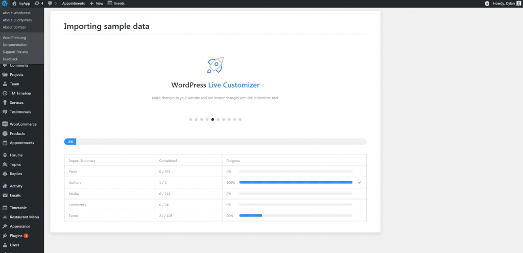 wordpress import data how to design a website wordpress tutorial how to install a wordpress theme in 20 steps