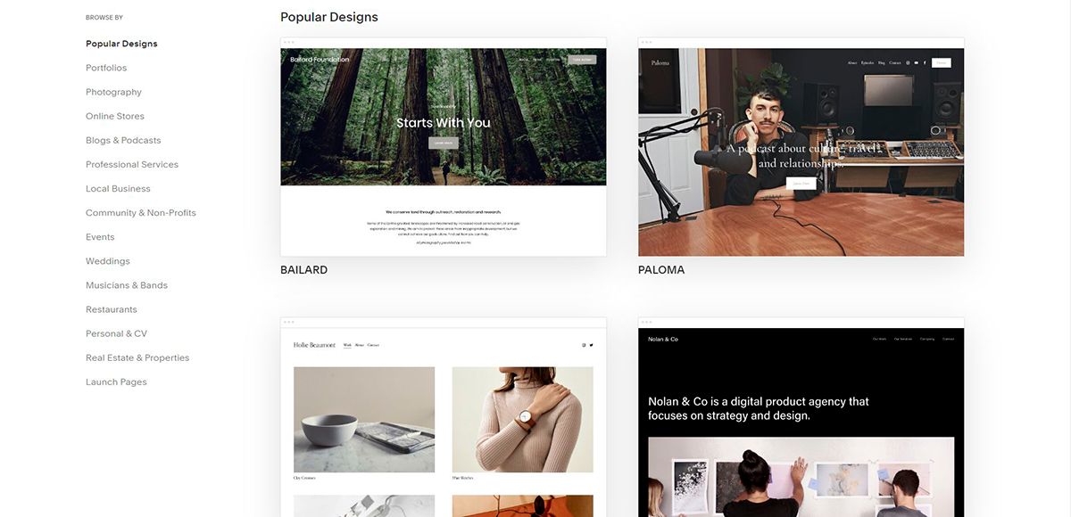how to design a website - squarespace templates