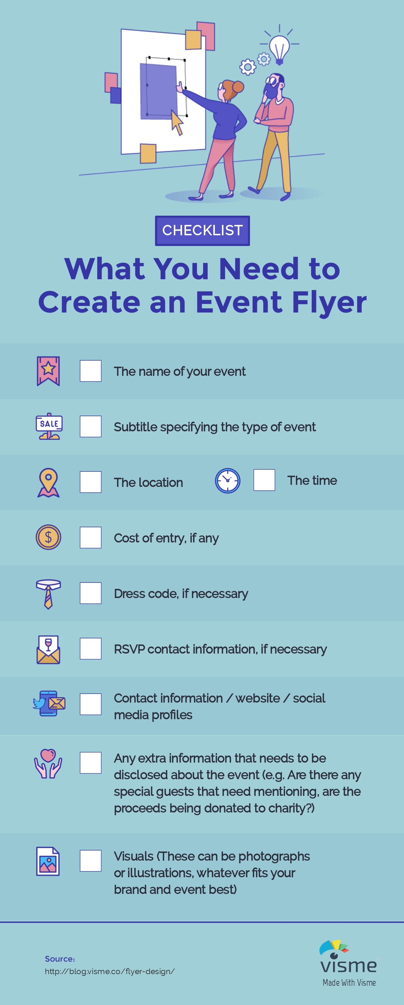 Checklist: What you need to create an event flyer. The name of your event / grand opening / fundraiser etc. A subtitle if necessary. Is it a dance party, a charity event, a fundraiser, a movie showing, a gallery opening, a dog adoption event? The location The time Cost of entry, if any The Dress Code, if necessary RSVP contact information if necessary Contact information / website / social media profiles Any extra information that needs to be disclosed about the event. Are there any special guests that need mentioning? Are the proceeds being donated to charity? Visuals. These can be photographs or illustrations—whatever fits your brand and event best.