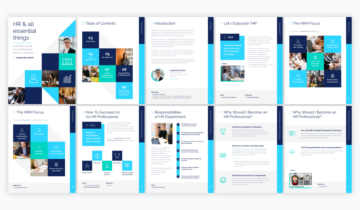 A collage of a blue and green HR ebook template available in Visme.