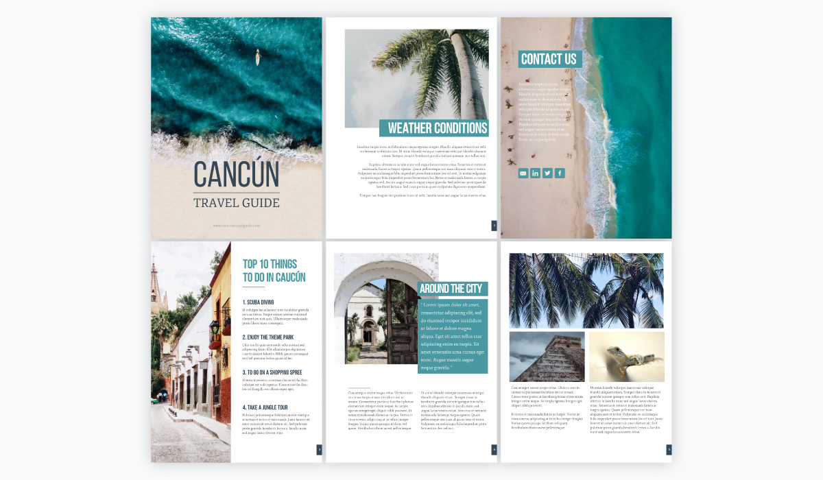 A collage of a beach-themed ebook template available in Visme.