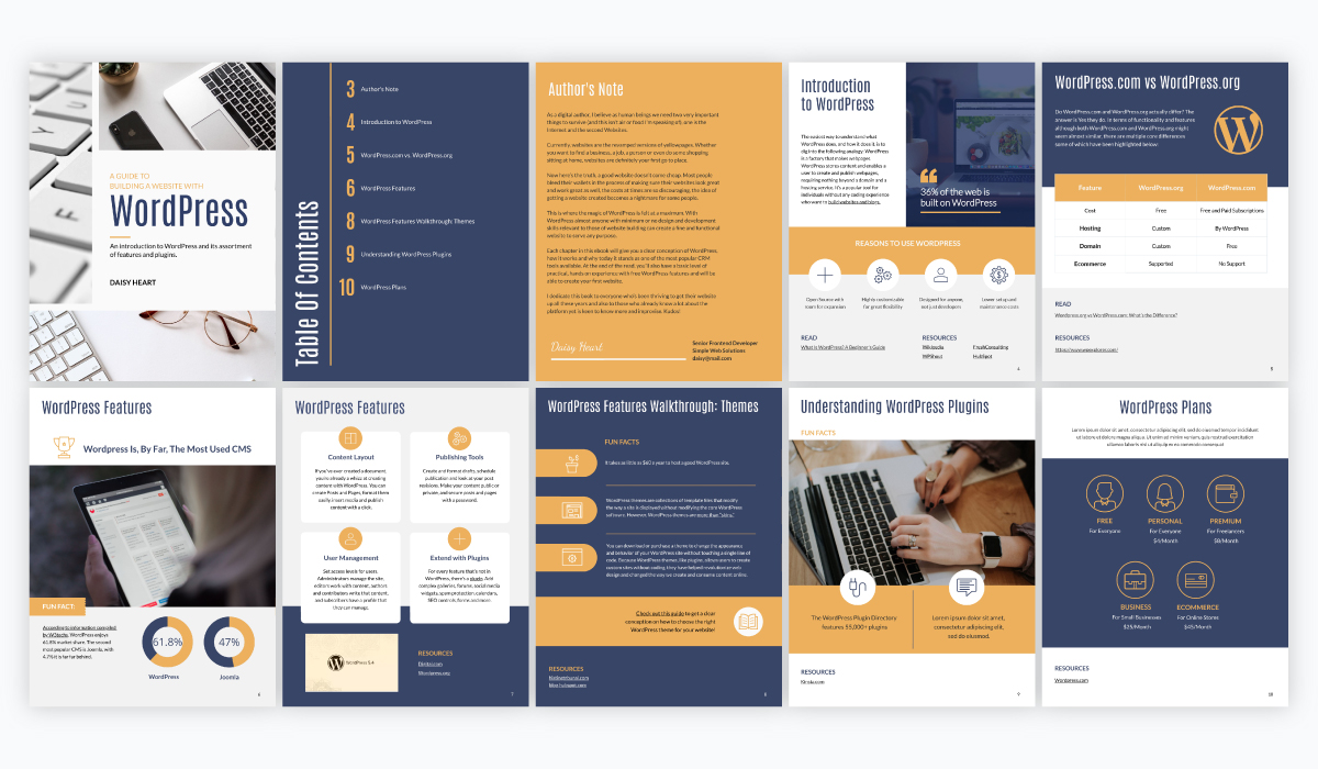A collage of a blue and yellow WordPress website guide ebook template available in Visme.