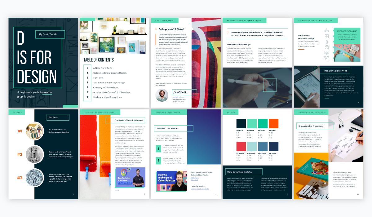 A collage of a blue, green and white graphic design ebook template available in Visme.