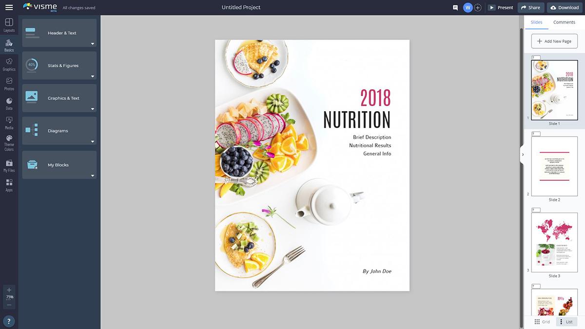 A screenshot of a nutritional ebook template in Visme's design editor.