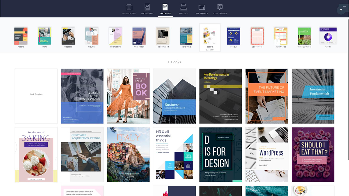 A screenshot of the available ebook templates in Visme's design dashboard.