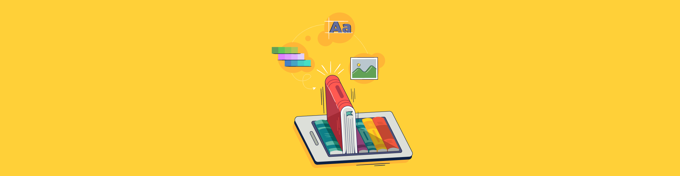 An illustration of a book popping off of an iPad with design elements floating around it.