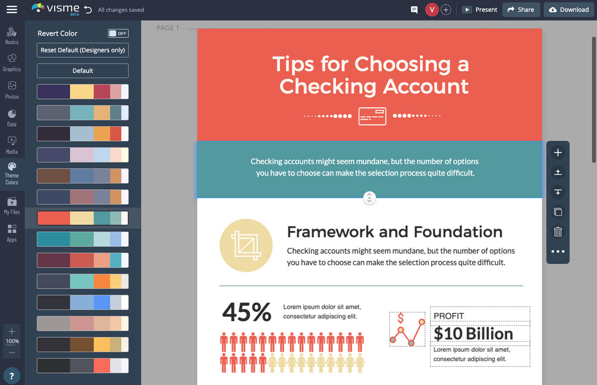A screenshot of the color themes available in Visme's dashboard alongside an infographic.