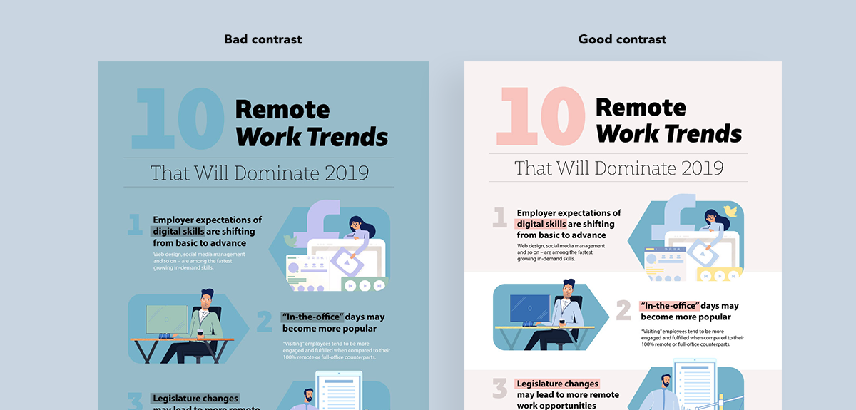 how to create clutter free infographics - good contrast vs bad contrast