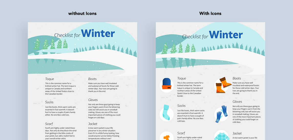 how to create clutter free infographics - replace text with icons list
