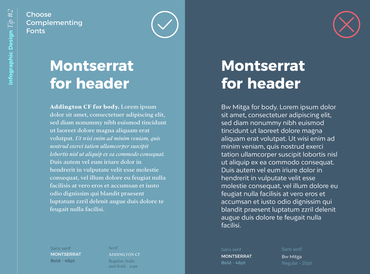 infographic design tip - choose complementing fonts (2)