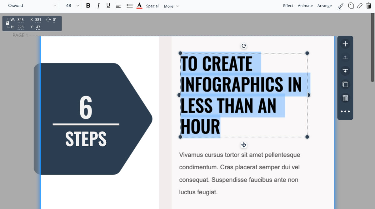 designing infographics - highlight your text boxes to update text