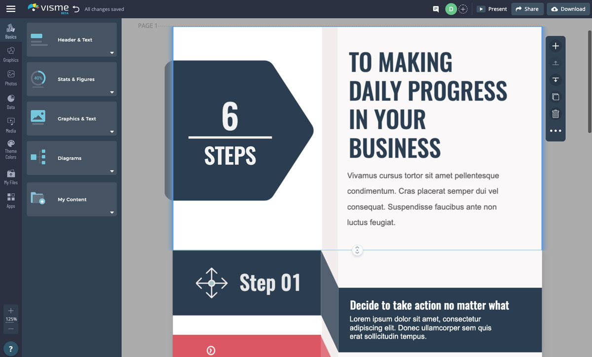 designing infographics - update the text in your template