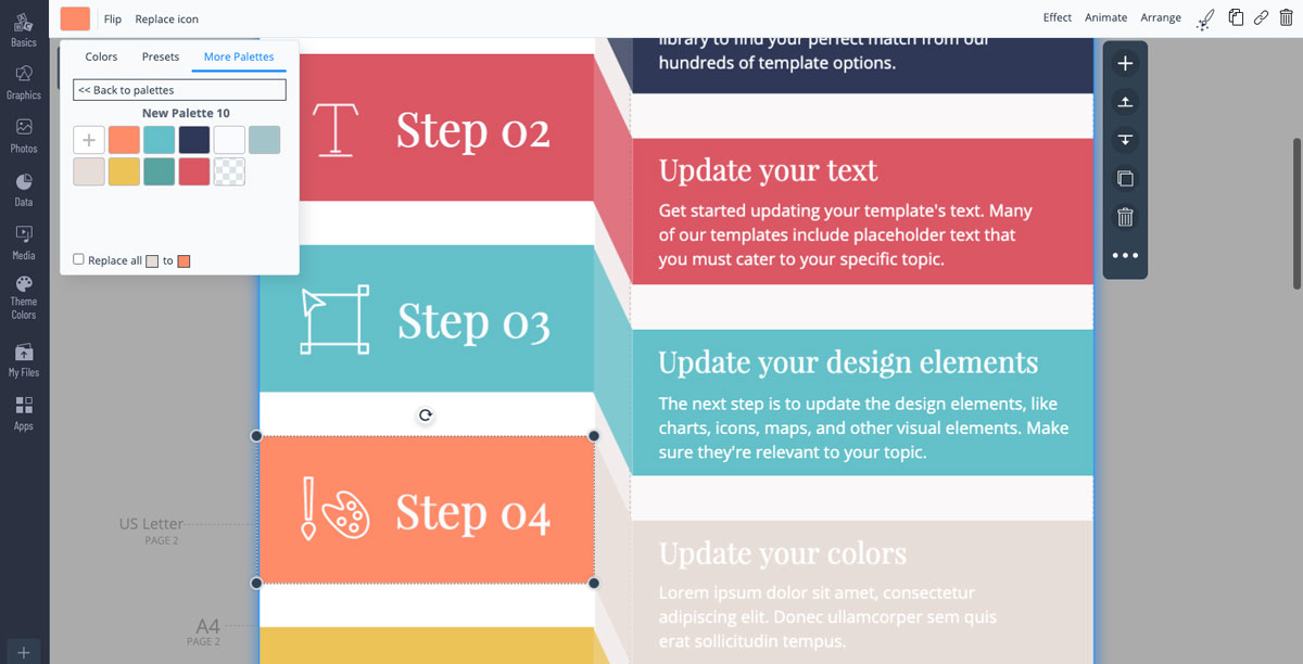 designing infographics - use the color picker
