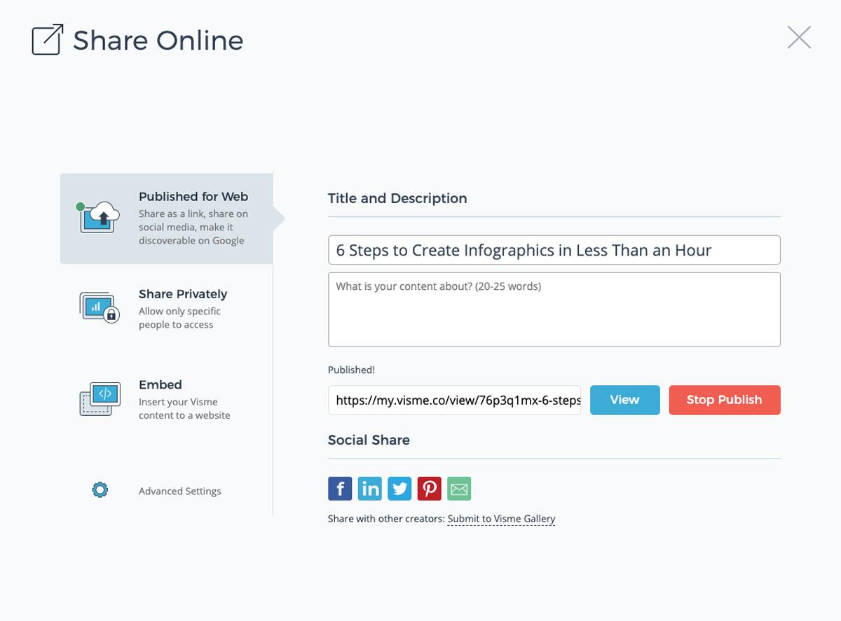 designing infographics - share online