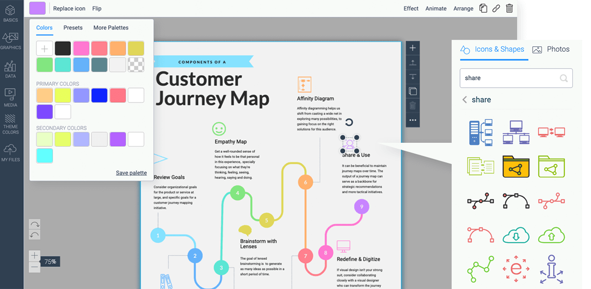 timeline infographic template - visme step 4 customize colors fonts graphics