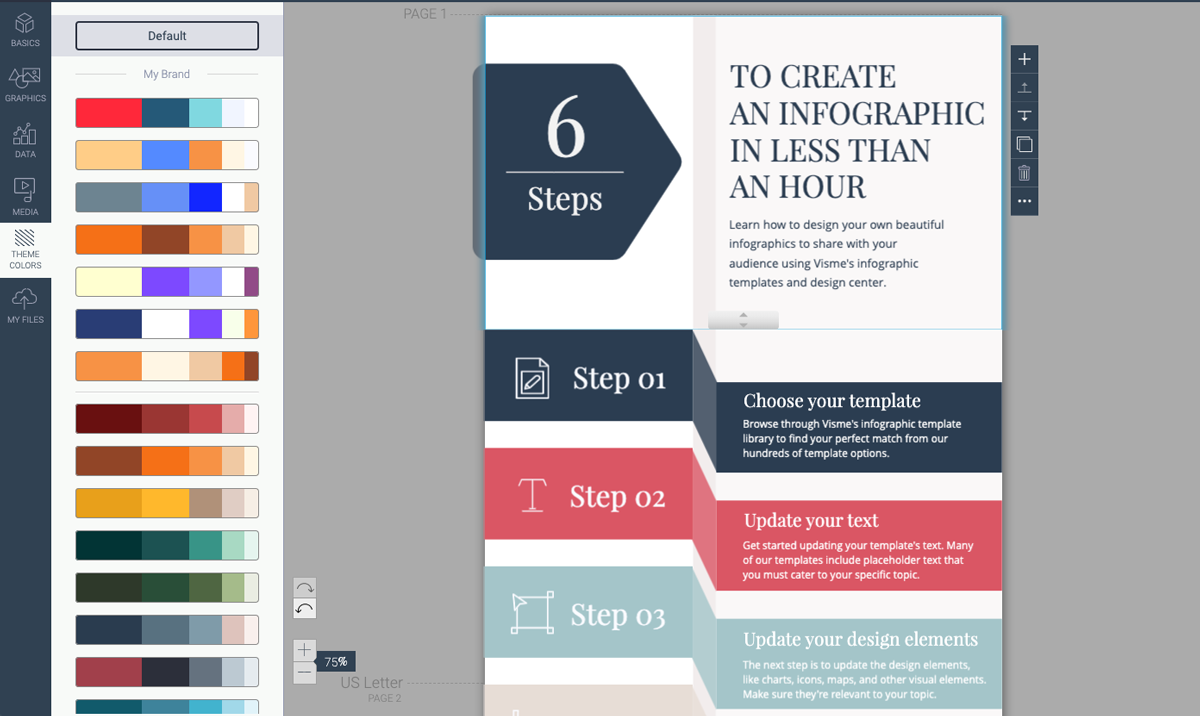 designing infographics - update colors in template visme 1