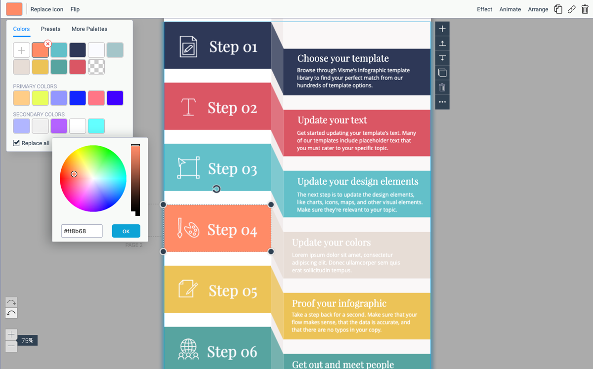 designing infographics - update colors in template visme 2