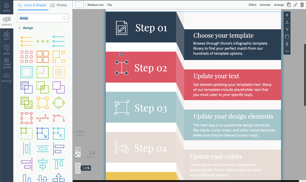 designing infographics - update design elements in template visme 2