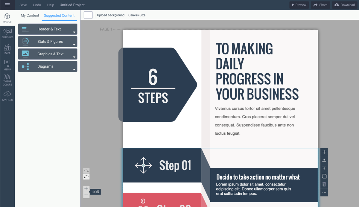 designing infographics - update text in template visme 1