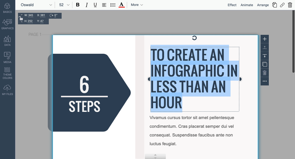 designing infographics - update text in template visme 2