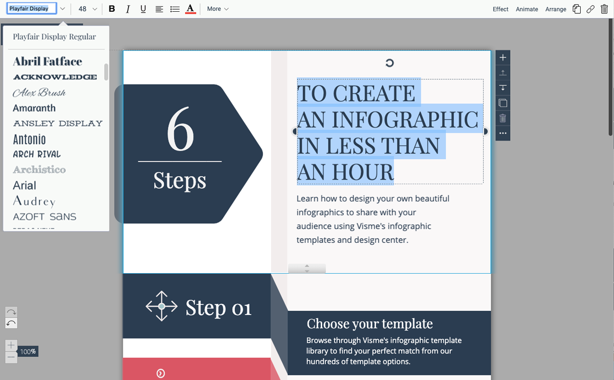 designing infographics - update text in template visme 3