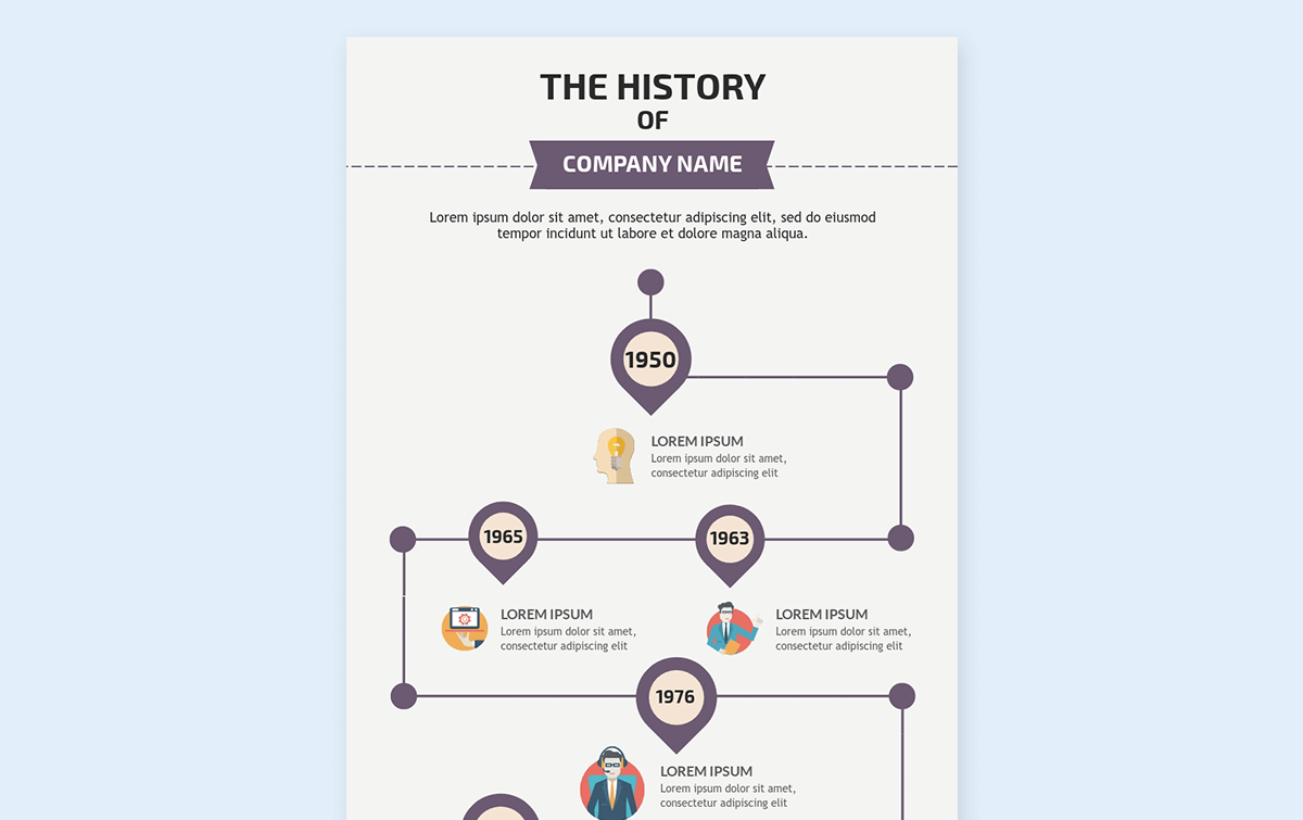 timeline infographic template - company background visme 1