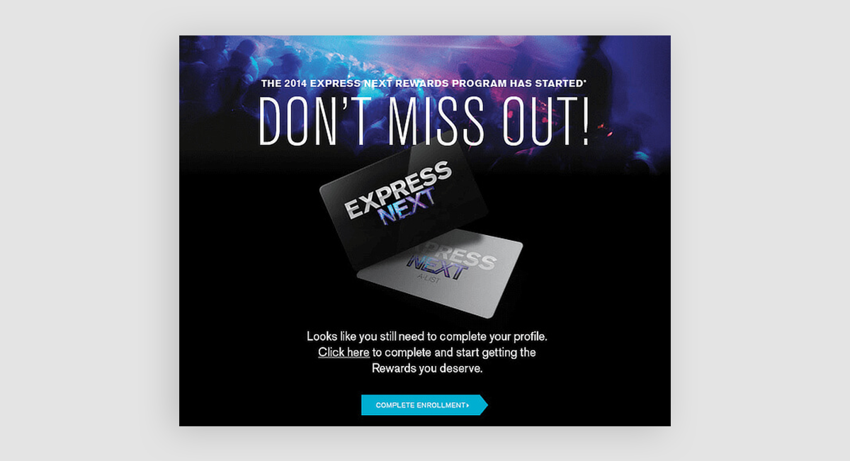 "An ad showcasing Express credit card with the verbiage, ""Don't miss out!"""