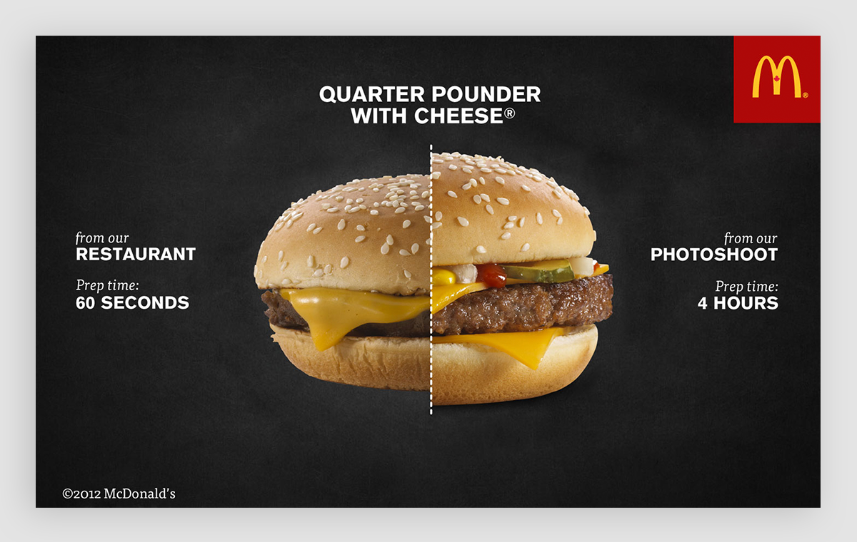A side-by-side representation of a burger from the McDonald's restaurant versus for a photoshoot.