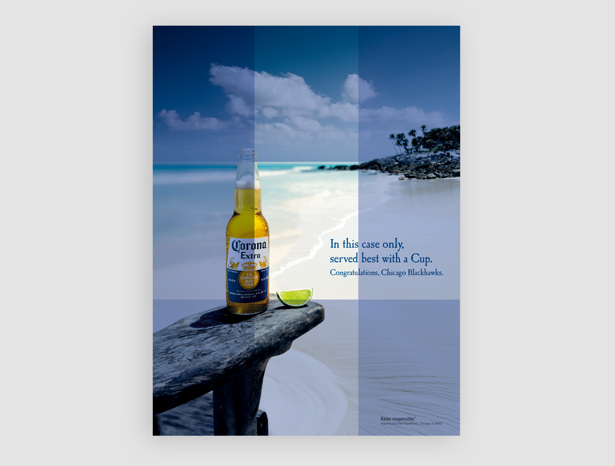 A Corona ad with rectangle overlays showcasing the rule of thirds and how the bottle perfectly lines up.
